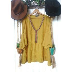 Corvia boutique boho Aztec yellow blouse.